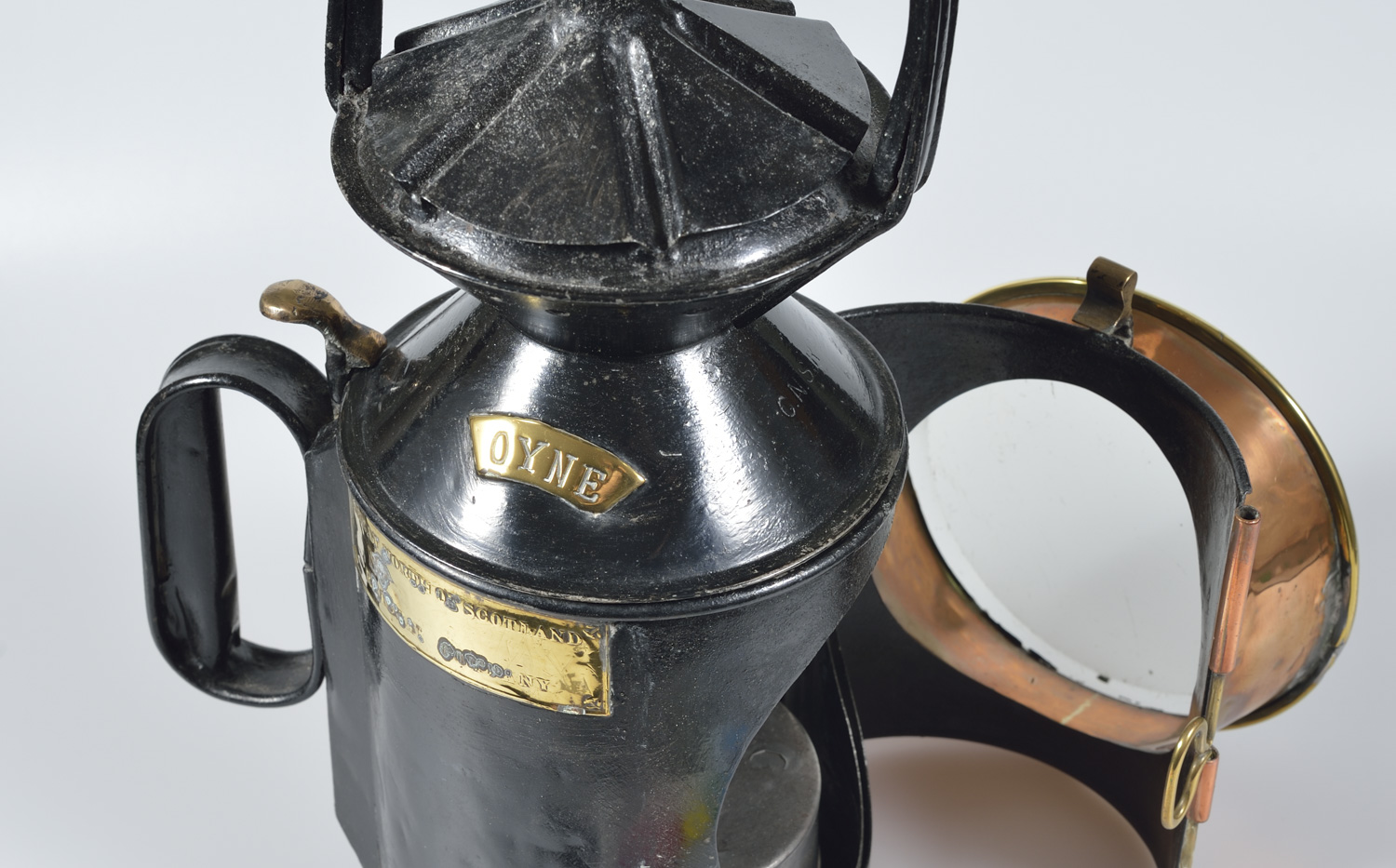 an image of a black railway lamp from the museum collections.