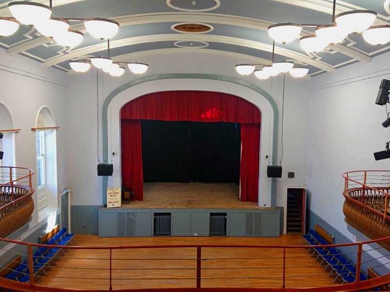 The main hall and stage inside Stonehaven Town Hall
